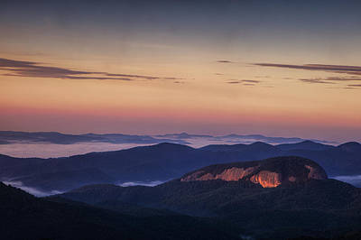 Glass Photograph - Dawn Over Looking Glass Rock by Andrew Soundarajan