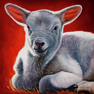 Lamb Of God Painting - Day 1 / The Sacrificy by Ilse Kleyn