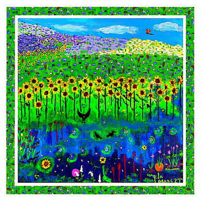Day And Night In A Sunflower Field With Floral Border Print by Angela Annas