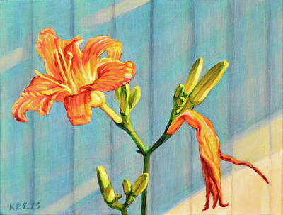 Rustic Painting - Day Lily Cycle by Kenneth Cobb