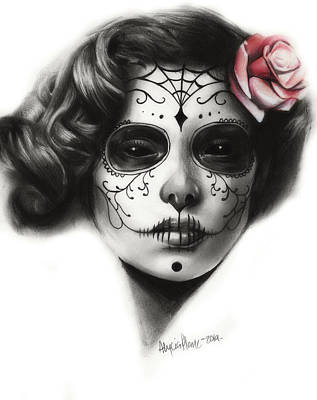 Sugar Skull Girl Drawing - Day Of The Dead by Alycia Plank
