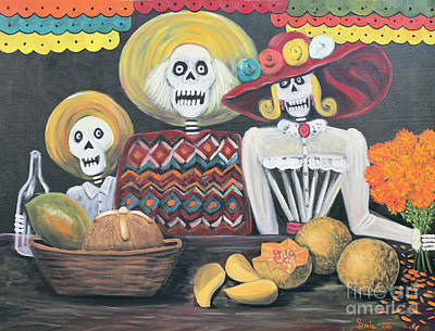 Mango Mixed Media - Day Of The Dead Family by Sonia Flores Ruiz