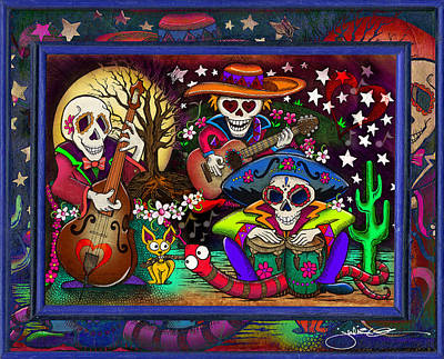 Day Of The Dead Music Band Print by Julie Oakes