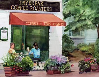Store Fronts Painting - Daybreak Coffee Roasters by Katherine  Berlin