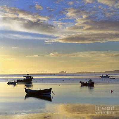 Lindisfarne Photograph - Daybreak Over Lindisfarne Harbour Holy Island by John Potter