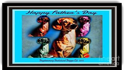 Dachshund Puppy Digital Art - Daydreaming Dachshund Doggie Father's Day by PrettTea Art Gallery  By Teaya Simms