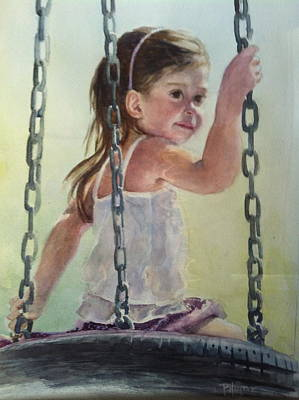 Child Swinging Painting - Daydreaming by Pat Harper