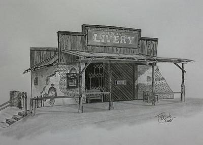 Ghost Towns Drawing - Days Gone  By by Tony Clark