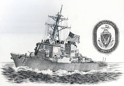 Us Navy Drawing - Ddg 73 by Mark Jennings