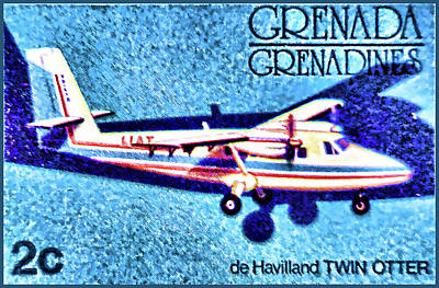 Airliners Painting - de Havilland TWIN OTTER by Lanjee Chee