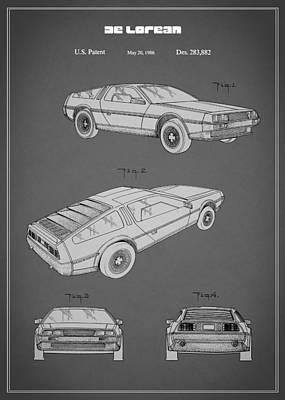 De Lorean Patent 1986 Print by Mark Rogan