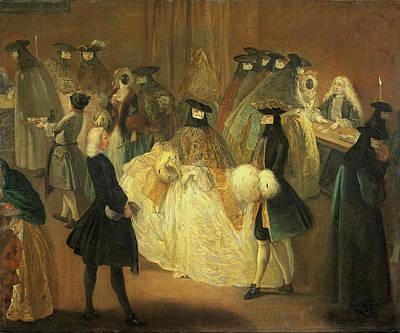 Pietro Longhi Painting -  De Speelbank by Pietro Longhi