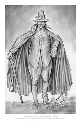 Genealogy Drawing - Deacon Samuel Chapin by Greg Joens