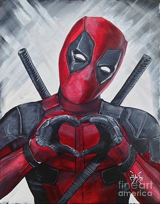 Marvel Painting - Deadpool Love by Tyler Haddox