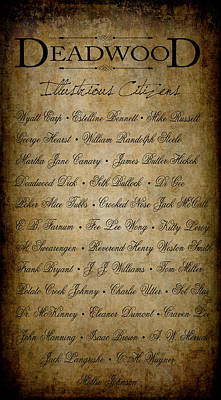 Deadwood Illustrious Citizen Roster Print by Daniel Hagerman
