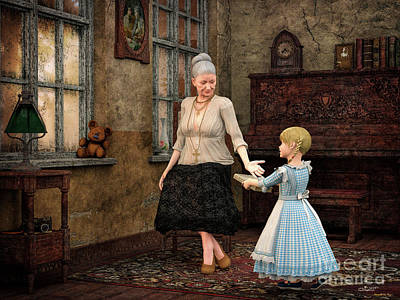 Women Together Digital Art - Dear Grandma by Jutta Maria Pusl
