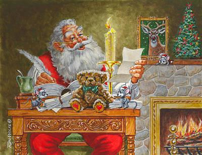 Christmas Painting - Dear Santa by Richard De Wolfe