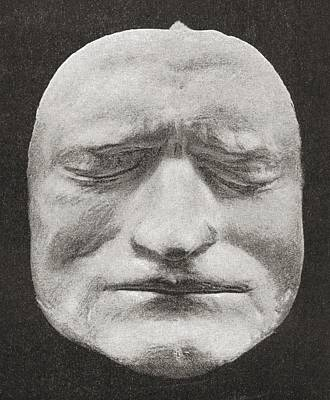 Newton Drawing - Death Mask Of Sir Isaac Newton, 1643 To by Vintage Design Pics