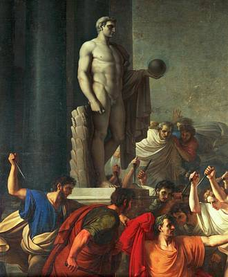 Death Of Caesar, March 15, 44 Bc Print by Vincenzo Camuccini