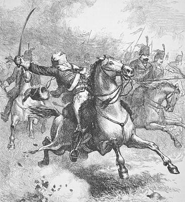 Death Of Count Casimir Pulaski Print by American School