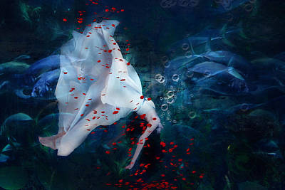 Red White And Blue Mixed Media - Death Of Ophelia by Georgiana Romanovna