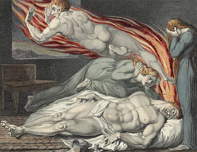 Weeping Drawing - Death Of The Strong Wicked Man by Sir William Blake