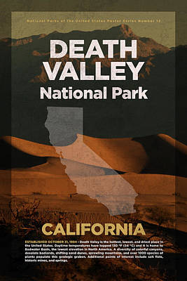 National Parks Mixed Media - Death Valley National Park In California Travel Poster Series Of National Parks Number 13 by Design Turnpike