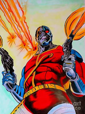 Movies Drawing - Deathlok Watercolor Edition by Justin Moore