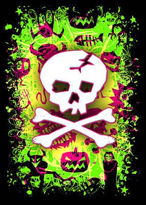 Deathrock Skull And Bones Print by Roseanne Jones