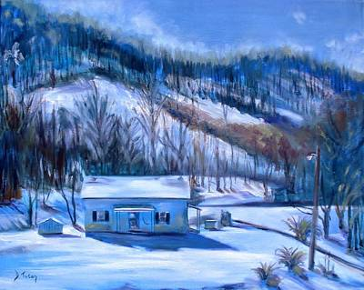 Winterscape Painting - Debbies Homeplace by Donna Tuten