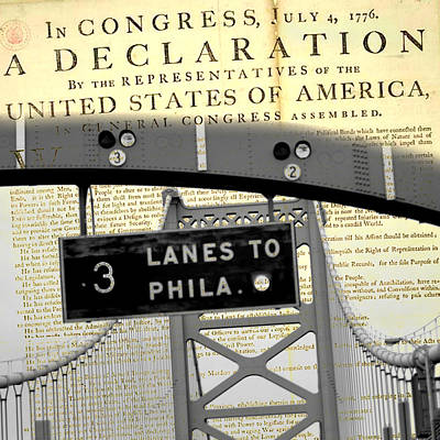 Independence Mixed Media - Declaration Of Independence Ben Franklin Bridge by Brandi Fitzgerald