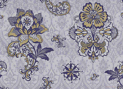Quilted Painting - Deco Flower Blue by JQ Licensing