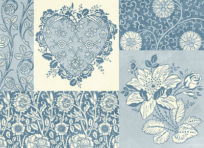 Quilts Painting - Deco Heart Blue by JQ Licensing
