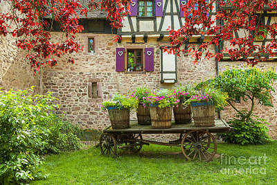 Wine Cart Photograph - Decorated Cart Of Riquewihr, Alsace,france 072476 by Marco Arduino