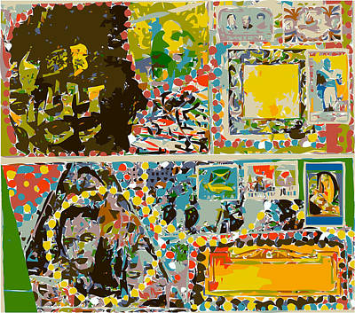 Xerox Art Mixed Media - Decorative Envelopes With Heads by F Burton