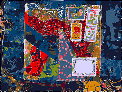 Xerox Art Mixed Media - Decorative Envelope With Blue Ground by F Burton