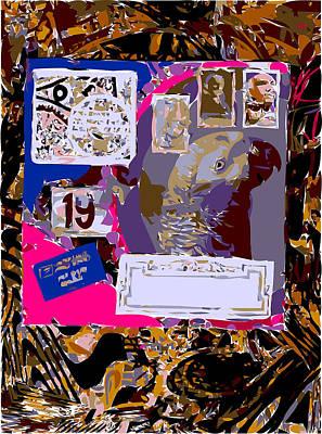 Xerox Art Mixed Media - Decorative Parrot Envelope On Sepia Ground  by F Burton