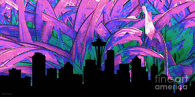 Decorative Skyline Abstract  Seattle T1115y Print by Mas Art Studio