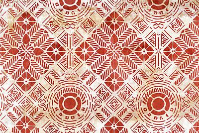 Art Nouveau Painting - Decorative Vintage Pattern Sanguine Red by Frank Tschakert