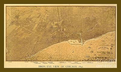 Decorative Vintage Sepia Map Of Chicago Print by Pd