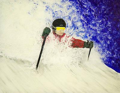 Ski Painting - Deeeep by Michael Cuozzo