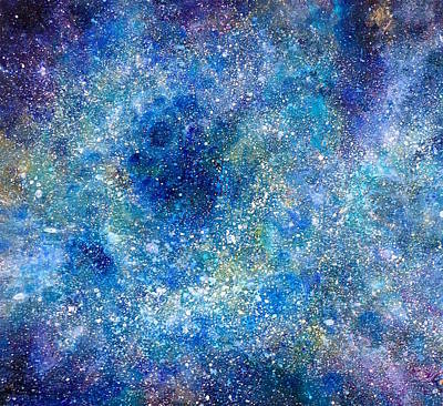 Mische Technique Painting - Deep Blue #4 by Adrienne Martino