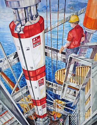 Sea Platform Painting - Deep Sea Floats by P Anthony Visco