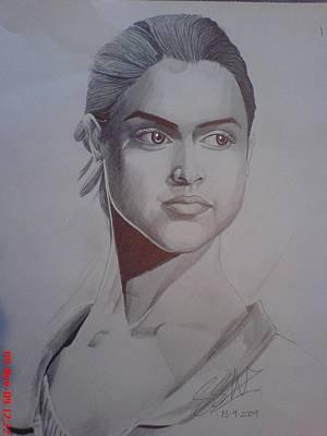 Orlando Bloom Drawing - Deepika Padukone by Sandeep Kumar Sahota