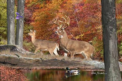 Deer Art - Deer Creek Whitetails Print by Dale Kunkel Art