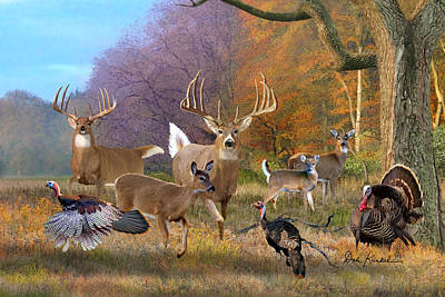North American Print featuring the painting Deer Art - Field Of Dreams by Dale Kunkel Art