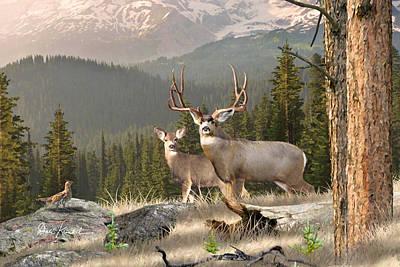 Deer Art - Mountain Rustic Print by Dale Kunkel Art