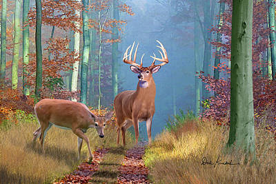Animals Painting - Deer Art - Time Of Endeerment by Dale Kunkel Art