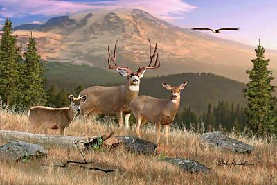 Deer Art - Wilderness Family Print by Dale Kunkel Art