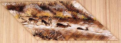 Pyrography Painting - Deer Crossing by Richard Jules
